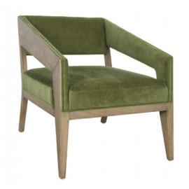 Modern Geometric Wood & Velvety Green Fabric Accent Chair