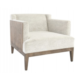 Wood Wrap Around With Light Sand Fabric Accent Chair