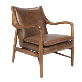 Plush Brown Leather & Wood Mid Century Club Chair