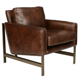 Brown Leather Brass Finish Square Base & Legs Club Chair