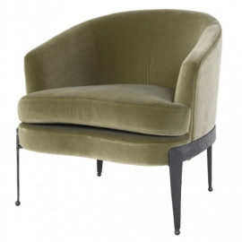 Velvet Olive Green Dark Hammered Iron Barrel Chair