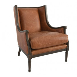 Carmel Brown Top Grain Mid Century Leather Club Chair