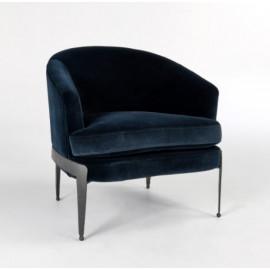Velvet Midnight Blue Dark Hammered Iron Barrel Chair