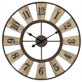Round Open Face Wood Metal Wall Clock