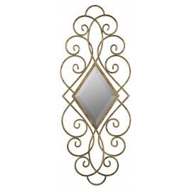 Antiqued Gold Scroll Design Diamond Beveled Wall Mirror