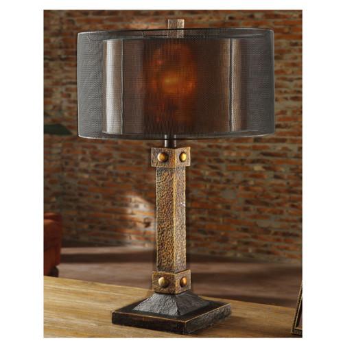 Copper Bronze Table Lamp Mica Shade