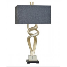 Serpentine Silver Leaf Black & Charcoal Table Lamp