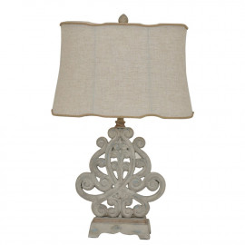 Rustic Whitewashed Scroll Design Table Lamp