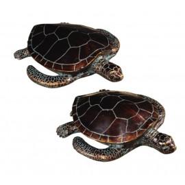 Bronze Sea Turtles Statues set of 2