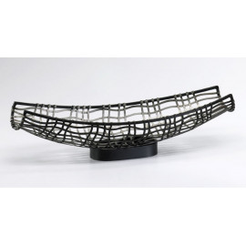 Silver Metal Decorative Canoe Tray