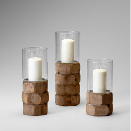 Natural Wood Pillar Candle Holders Set of 3