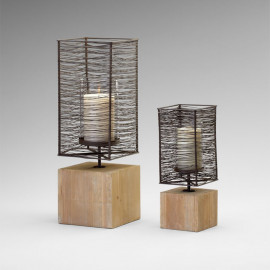 Candle Holders Raw Iron Natural Wood