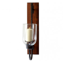Dark Metal Natural Wood & Glass Rustic Wall Sconce