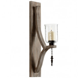 Rustic Wood Iron Glass Wall Sconce