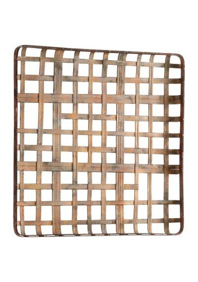 Rustic Metal Square Woven Basket Weave Wall Art