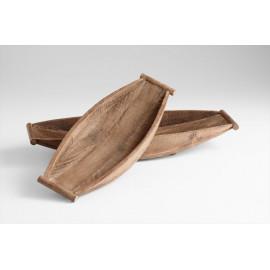 Natural Wood Display Boat Bowls Set of 2