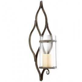 Rustic Silver Metal Vine Design Glass Wall Sconce