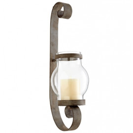 Rustic Silver Tone Ribbon Curled Metal Wall Sconce