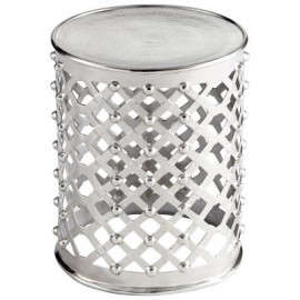 Silver Metal Lattice Drum Accent Side Table