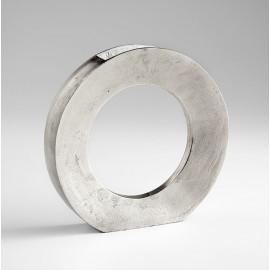 Raw Nickel Circular Silver Vase