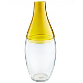 Yellow & Clear Glass 2 piece Vase