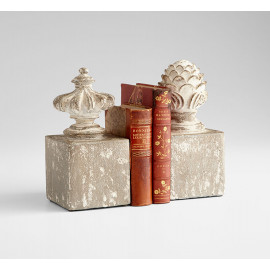 Antiqued Cement Crown Jewel Bookends