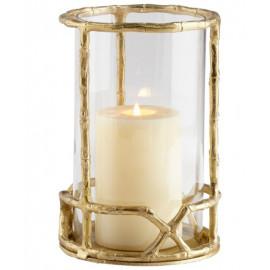 Gold Cane Frame & Glass Candle Holder Hurricane