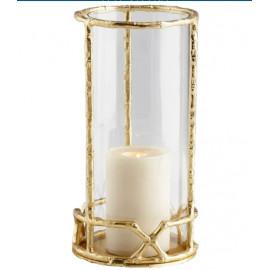 Gold Cane Frame & Glass Candle Holder Hurricane Tall