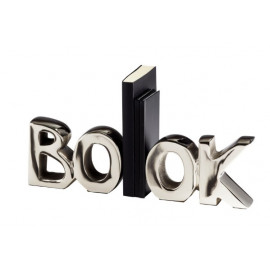 Silver the word BOOK Bookends