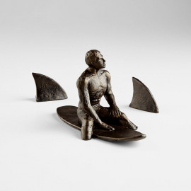 Iron Surfing with Sharks Table Top Shelf Sculpture