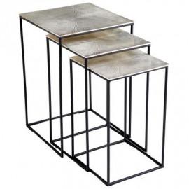 Silver Metal Top Bronze Leg Nesting Tables