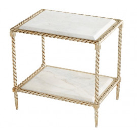 Brass Iron Rope White Marble Top Accent Side Table