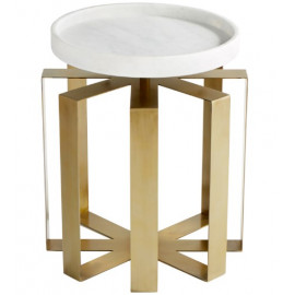 Brass Iron Cage White Round Marble Top Accent Side Table
