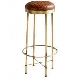Brass Finish & Quilted Leather Seat Industrial Bar Stool