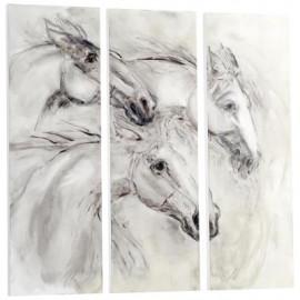 Black & White Triptych Running Horses Wall Art