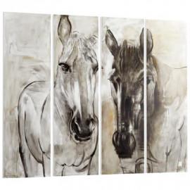 Brown & Tans 4 Piece Horses Wood Wall Art