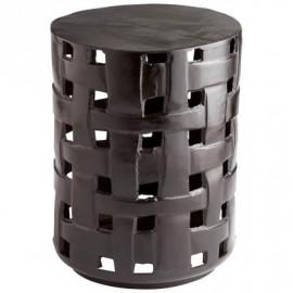 Dark Bronze Woven Metal Drum Accent Side Table