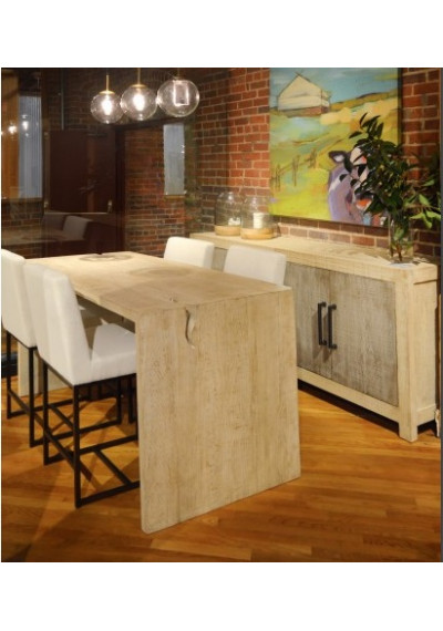Reclaimed Pine Driftwood Look Counter Bar Dining Table