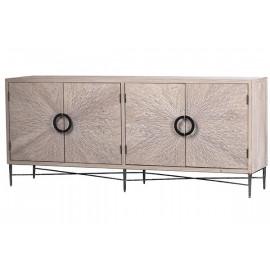 Reclaimed Pine Exploding Design Dark Metal Base Sideboard Cabinet