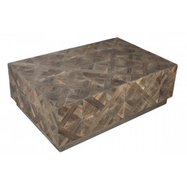 Reclaimed Elm Wood Criss Cross Design Coffee Table