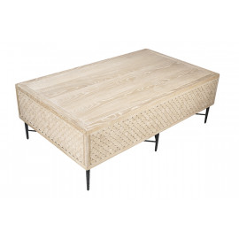 Whitewashed Oak Scallop Side Design Coffee Table Iron Base