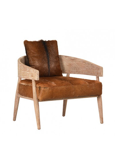 Hair on Hide Goat & Whitewashed Wood Unique Lounge Chair