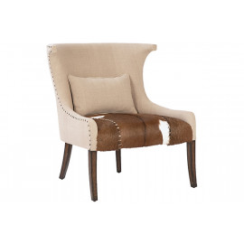 Linen with Hair on Hide Seat Accent Chair