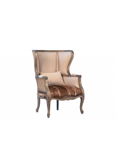 Wood Upholstery Rattan & Cow Hide Wing Back Chair