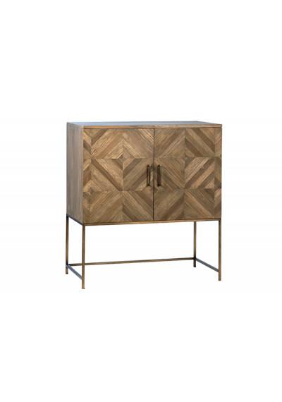 Reclaimed Wood & Metal Base Geometric Diamond Design Small Sideboard