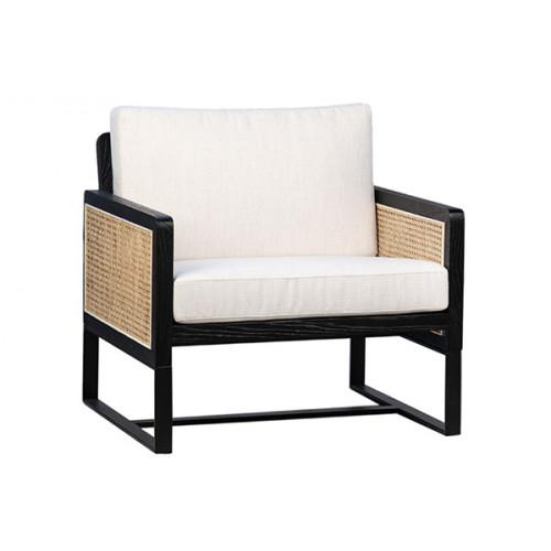 Black Frame Natural Rattan White Cushion Accent Chair