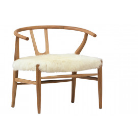 Fluffy Shaggy White Goat Skin & Wood Occasional Chair