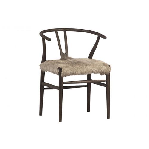 Fluffy Shaggy Beige Goat Skin & Matte Brown Wood Chair