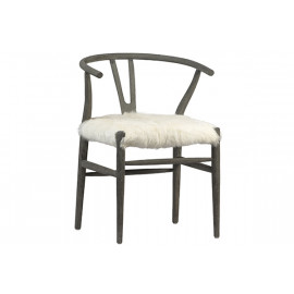 Fluffy Shaggy White Goat Skin & Ash Tone Wood Chair