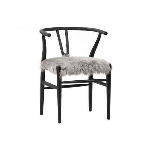 Fluffy Shaggy Grey Goat Skin & Dark Brown Wood Chair